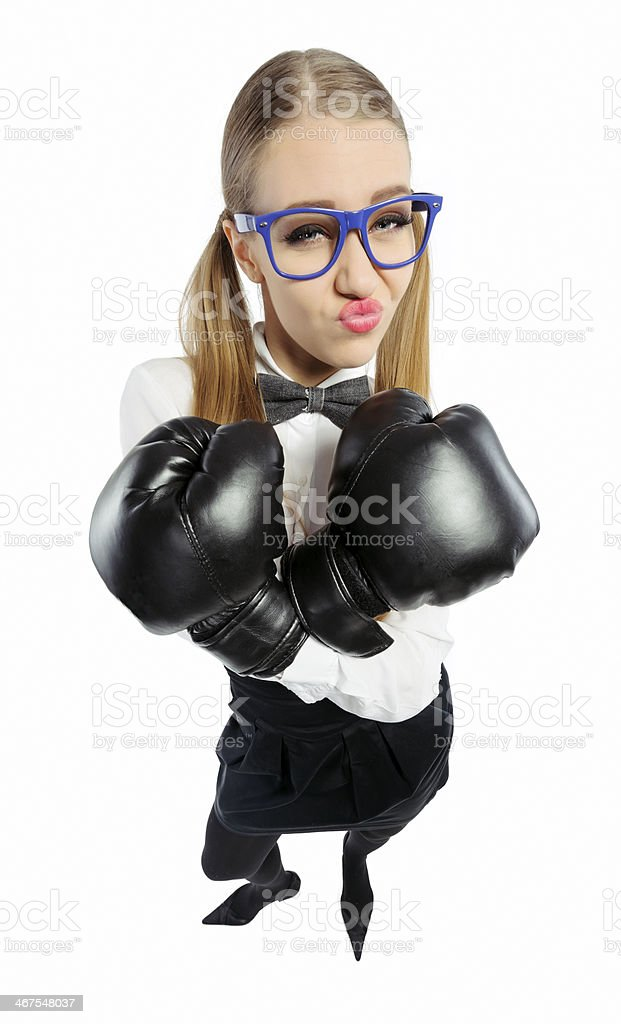 cool nerd with boxing gloves royalty-free stock photo