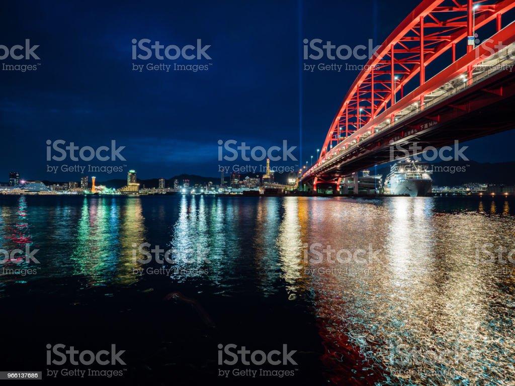 Kühle Nacht im Hafen von Kobe - Lizenzfrei Beleuchtet Stock-Foto