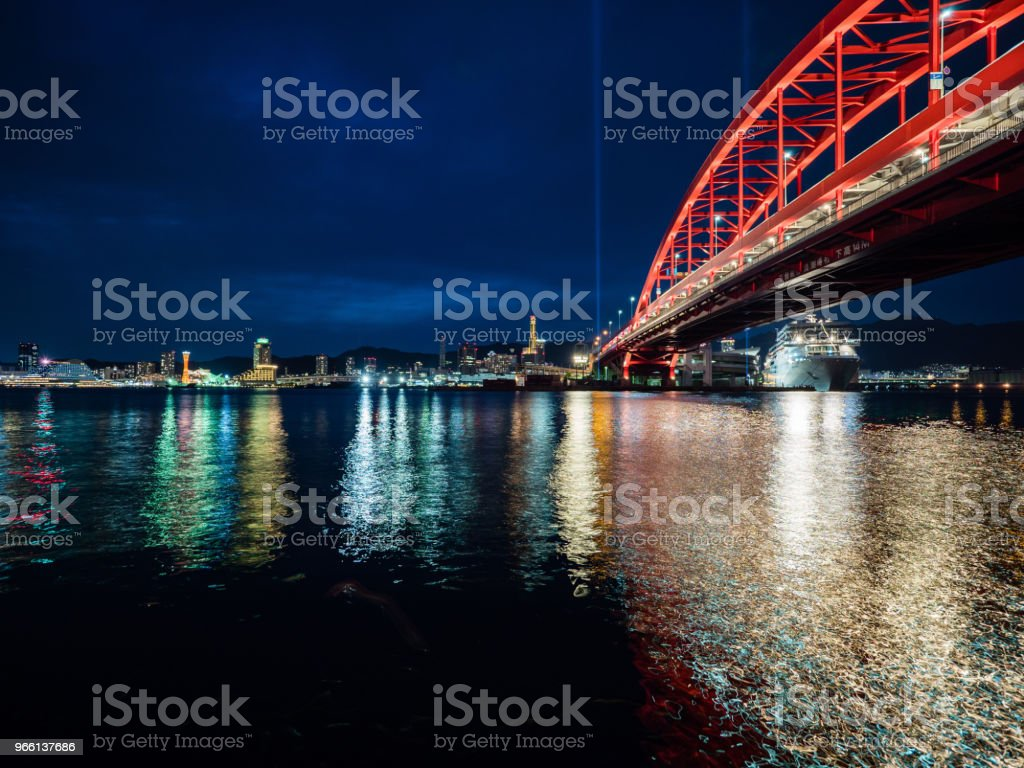 Cool Night in Kobe Port - Стоковые фото Без людей роялти-фри