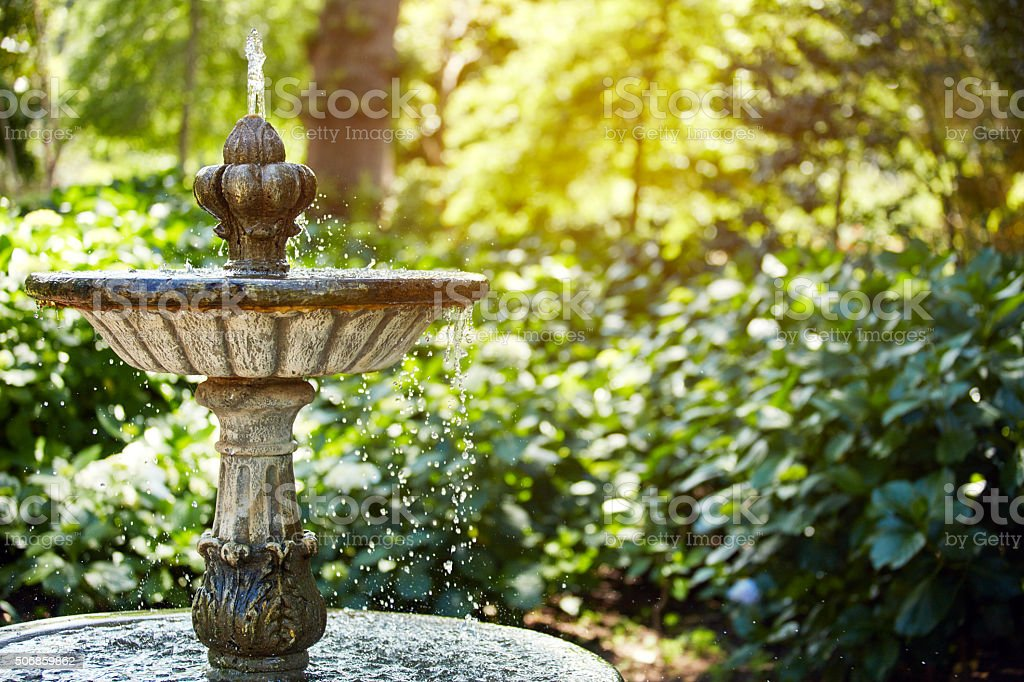 Cool off by the fountain stock photo