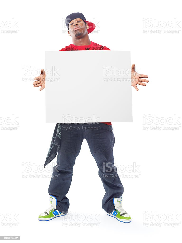 Cool rapper with a blank sign on white royalty-free stock photo