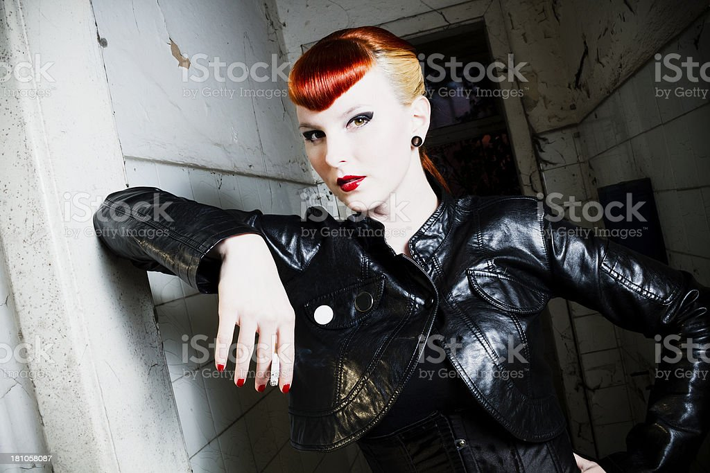 Cool rockabilly chick royalty-free stock photo