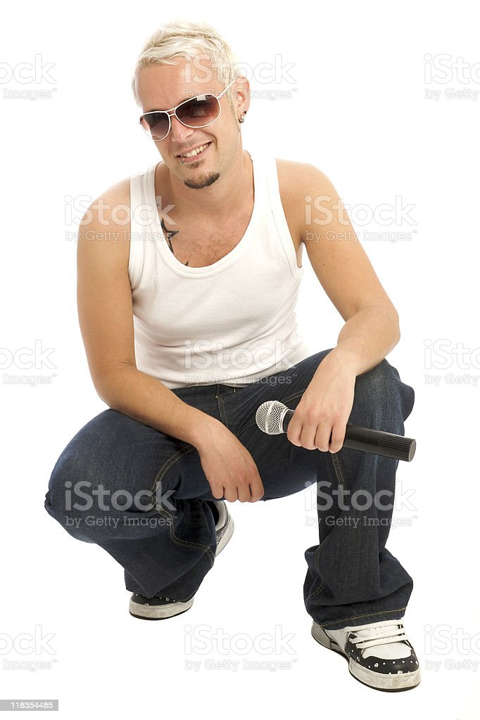 Cool singer with microphone royalty-free stock photo