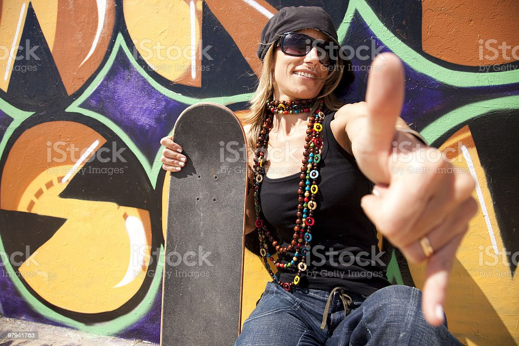 Cool skateboard woman royalty-free stock photo
