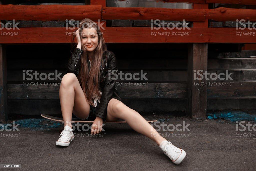 fille de patineur cool - Photo