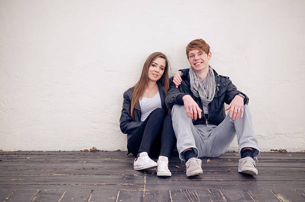 Cool teenage couple stock photo