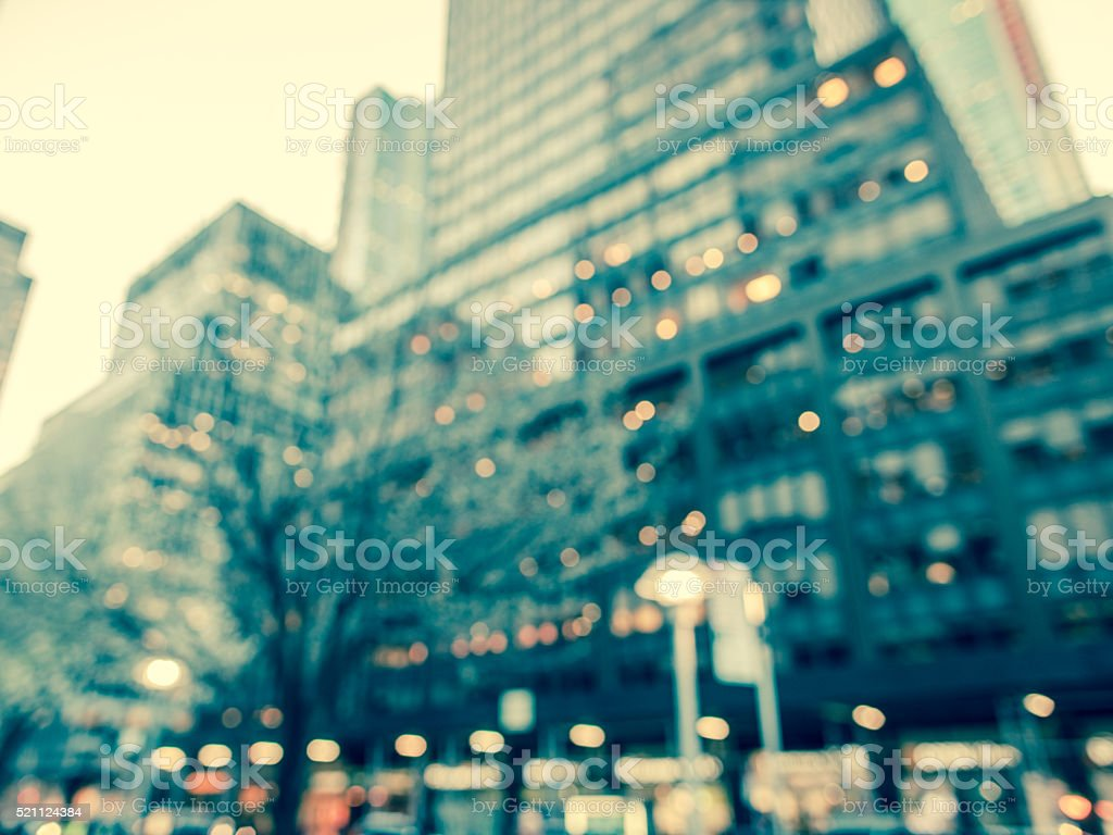 Cool toned and defocused street scene in New York City stock photo
