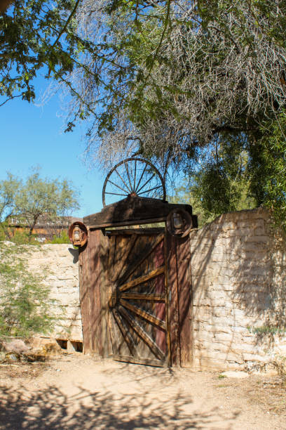 Cool wagon wheel gate stock photo