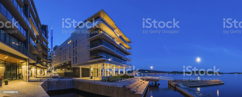 Cool Waterfront Apartment Buildings Glass Balconies Overlooking Bay
