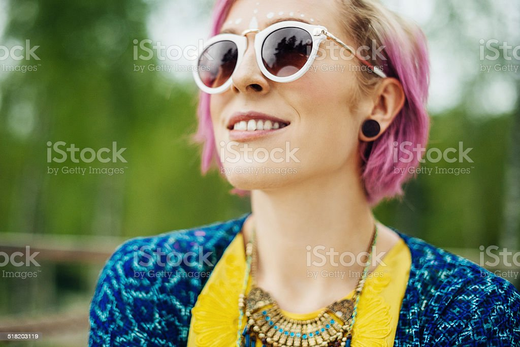 Cool woman in sunglasses stock photo