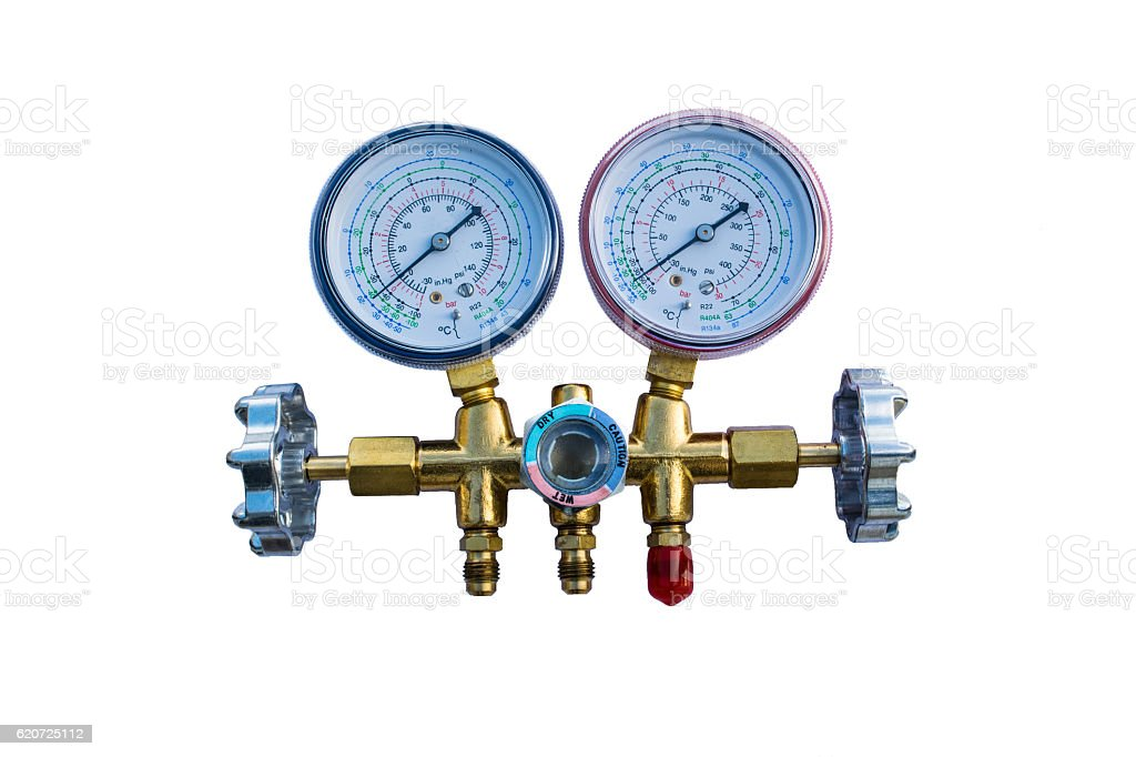 Coolant gauges stock photo