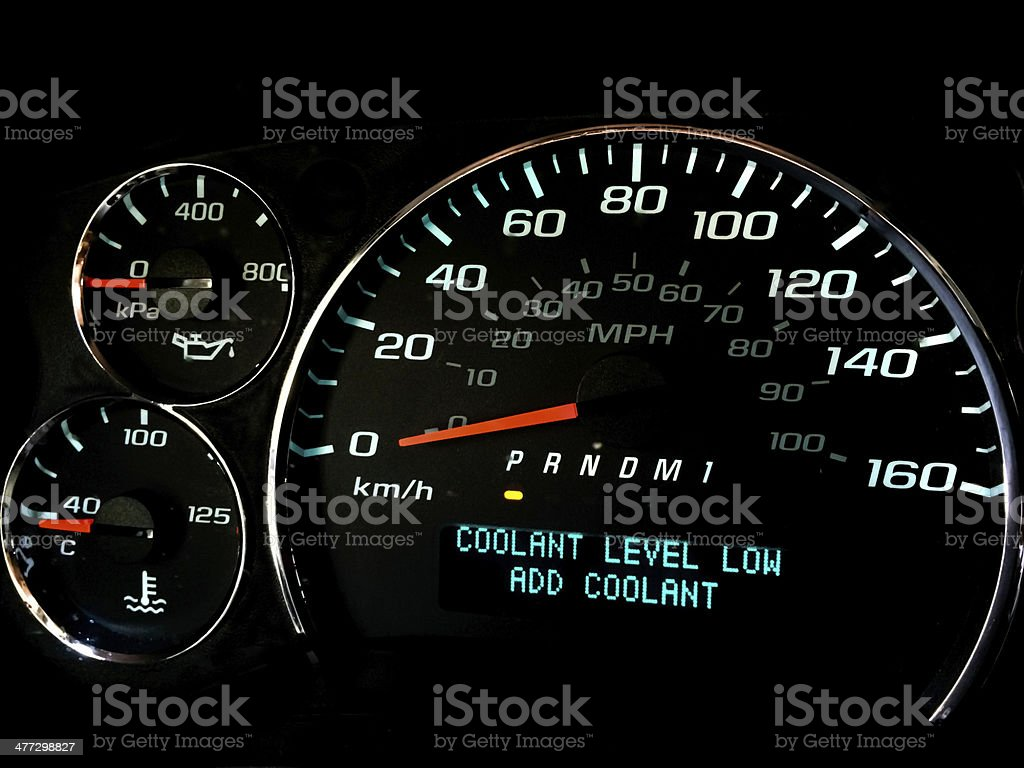 Coolant level low warning light stock photo