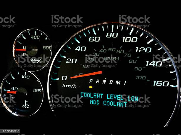 Coolant Level Low Warning Light Stock Photo - Download Image Now