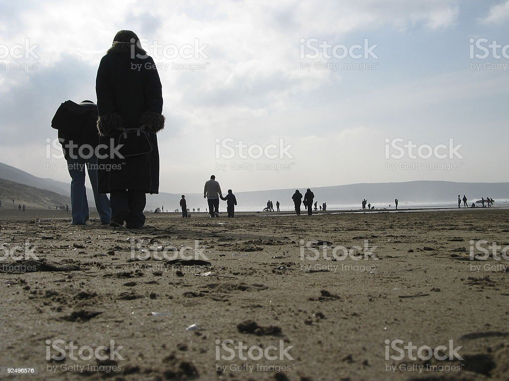 Cooled day at the beach royalty-free stock photo
