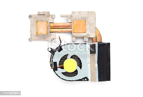 istock Cooler from a laptop on a white background. Spare part from a laptop close up. 1141303924