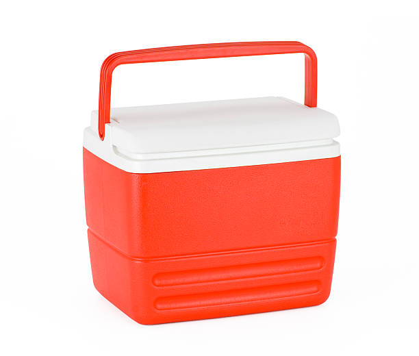 Cooler Portable food and drink cooler isolated on a white background. cooler container stock pictures, royalty-free photos & images