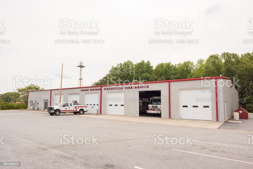 Cooley Springs fire department in upstate South Carolina Cooley Springs, South Carolina, Sept 10, 2017: The Cooley Springs and Fingerville Fire Department, located in rural, upstate South Carolina. Accidents and Disasters Stock Photo
