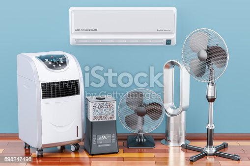 istock Cooling and climate electric devices on the wooden floor. 3D rendering 898247498