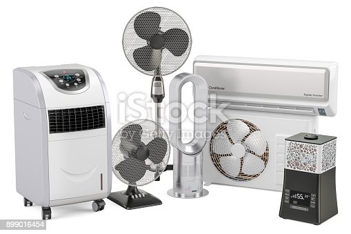 177118473 istock photo Cooling and climate electric equipment. 3D rendering isolated on white background 899016454