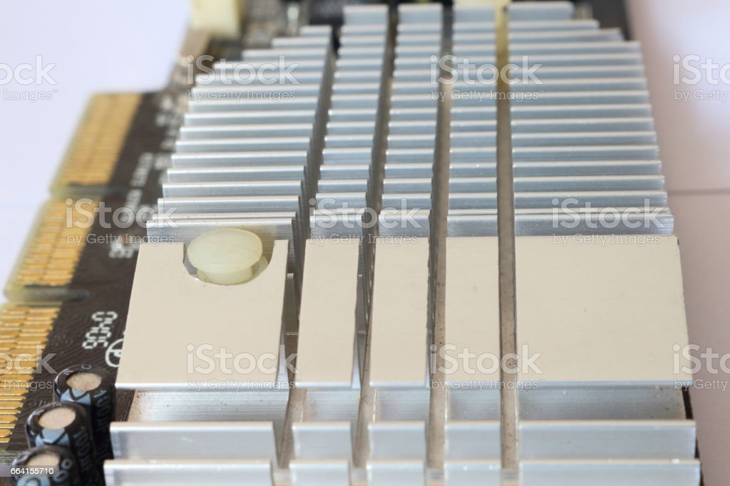 Cooling Board on Computer Graphics Card on White Background foto stock royalty-free