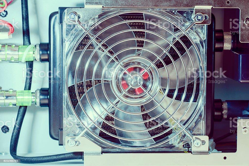 cooling fan inside stock photo