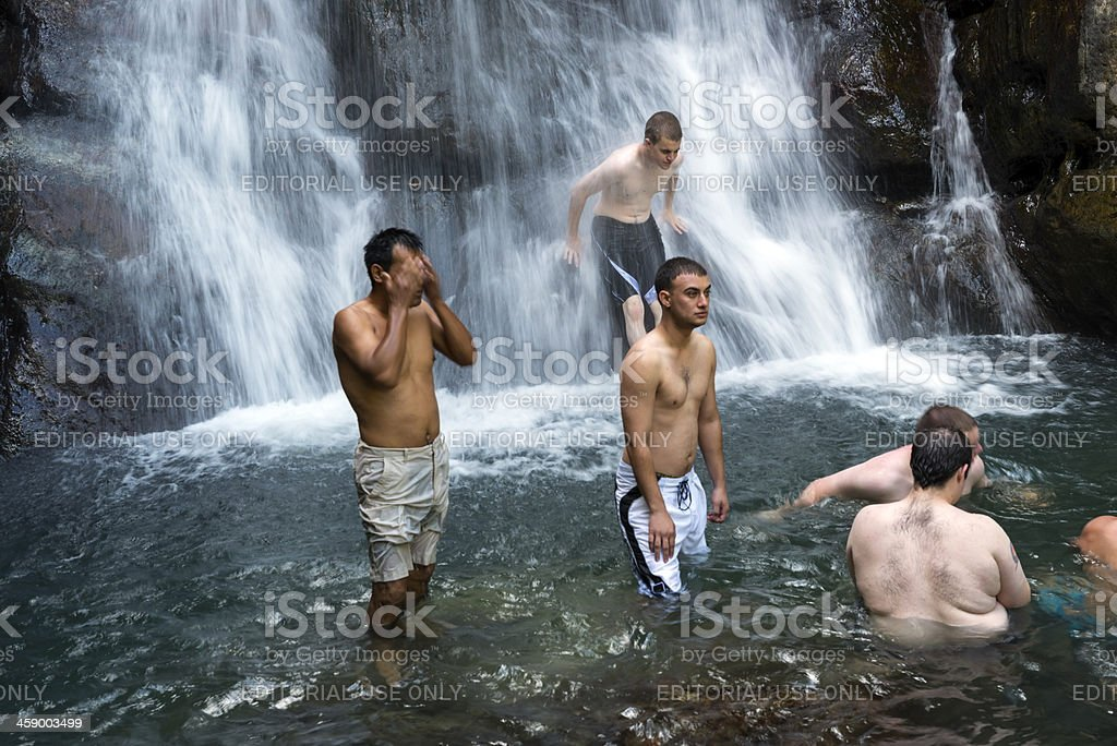 Cooling off at waterfall in Puerto Rico royalty-free stock photo