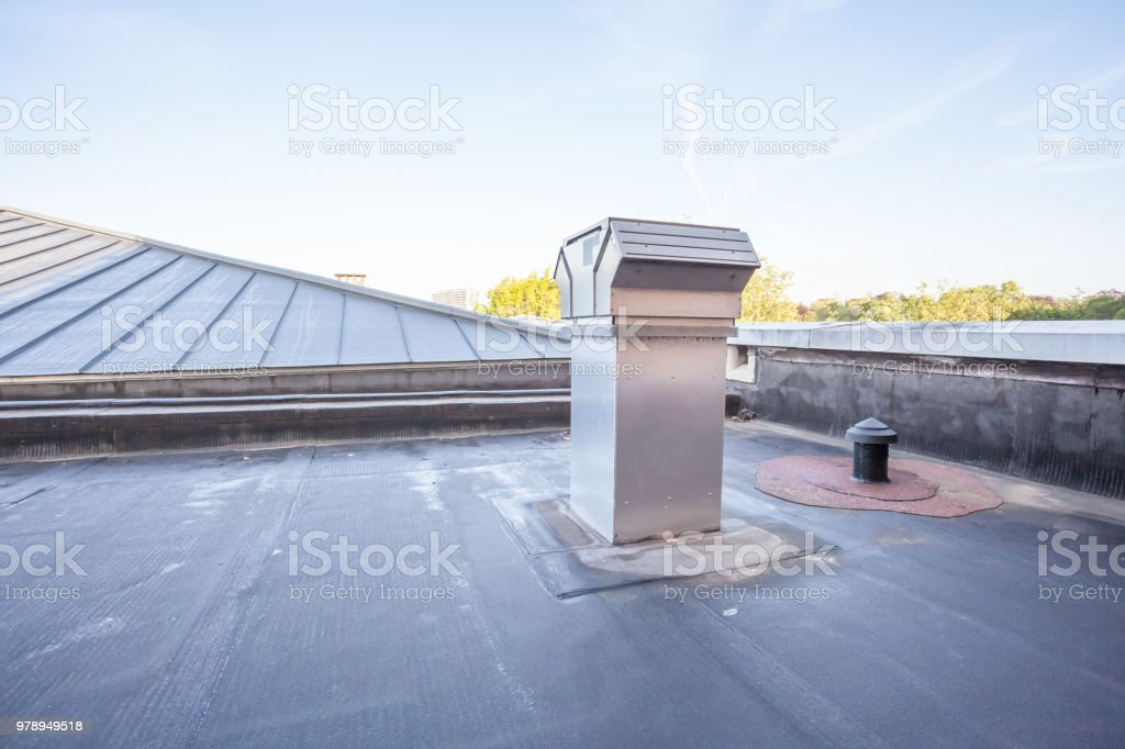 cooling on a flat roof stock photo