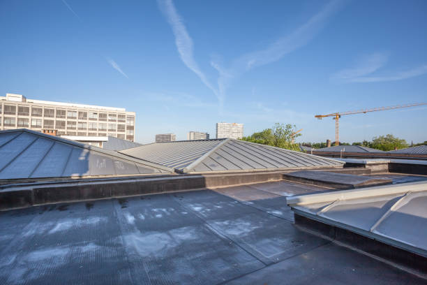 cooling on a flat roof on a high building in the city there is cooling on a flat roof consumerism stock pictures, royalty-free photos & images