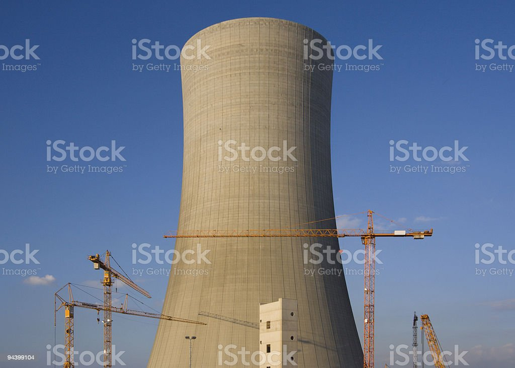 Cooling Tower And Cranes stock photo