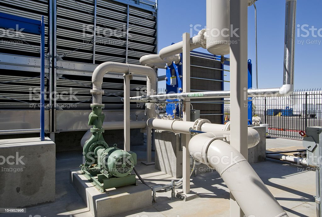 Cooling Tower and Pumps stock photo