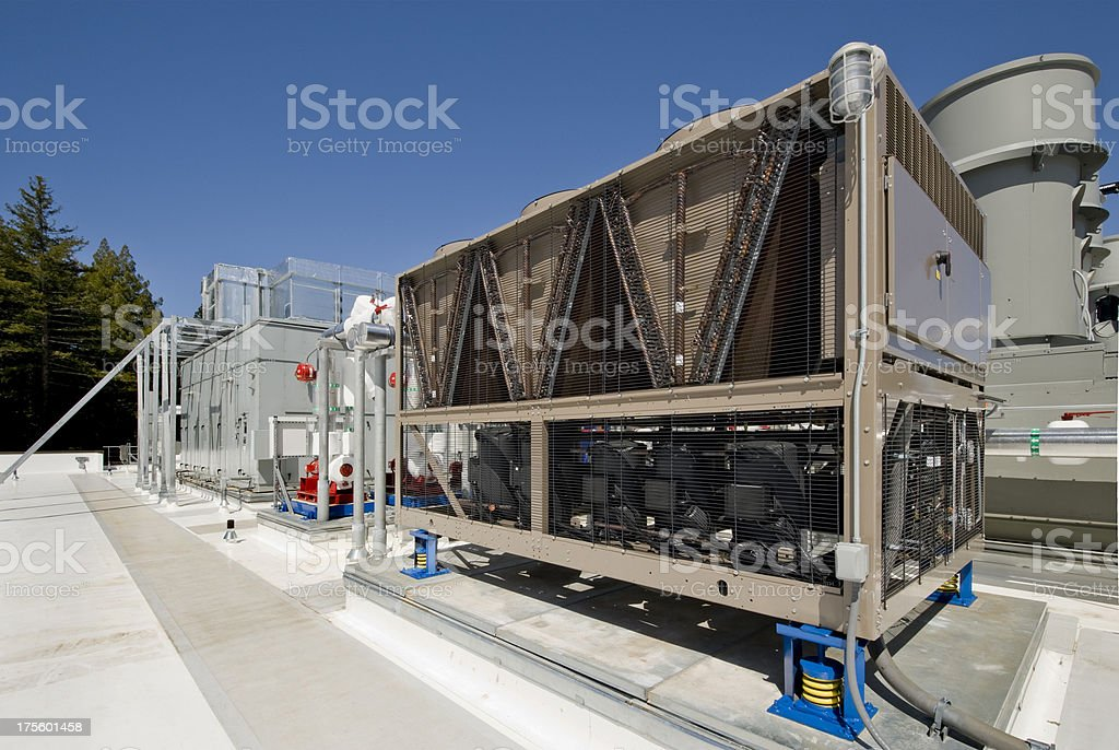 HVAC Cooling Tower and Ventilation System stock photo