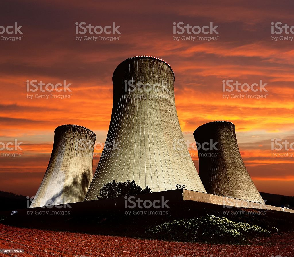 cooling tower - Nuclear power plant Dukovany stock photo