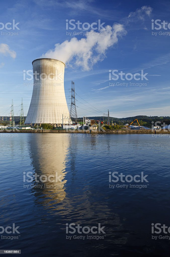 Cooling Tower Of Nuclear Power Station At River royalty-free stock photo