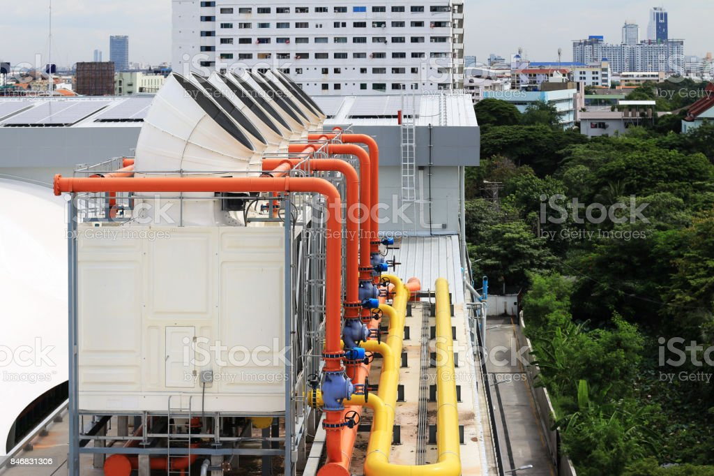 Cooling Tower on the Roof Deck stock photo