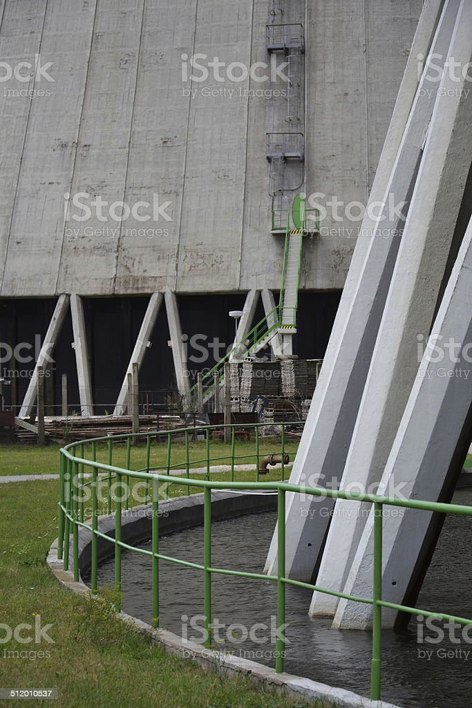 Cooling towers at nuclear power plant stock photo