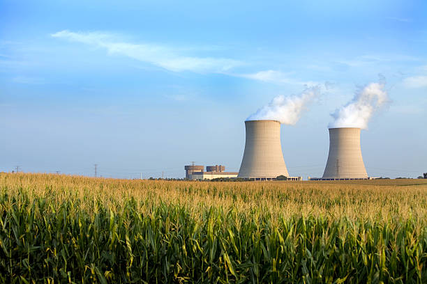 cooling towers byron IL  nuclear power station stock pictures, royalty-free photos & images