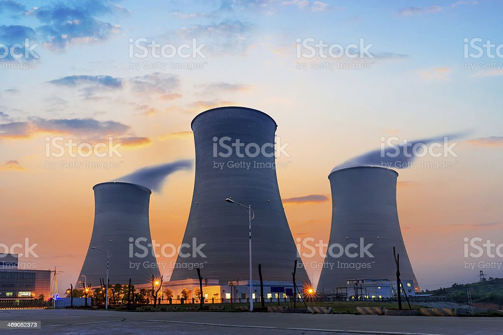 cooling towers of atomic power plant stock photo