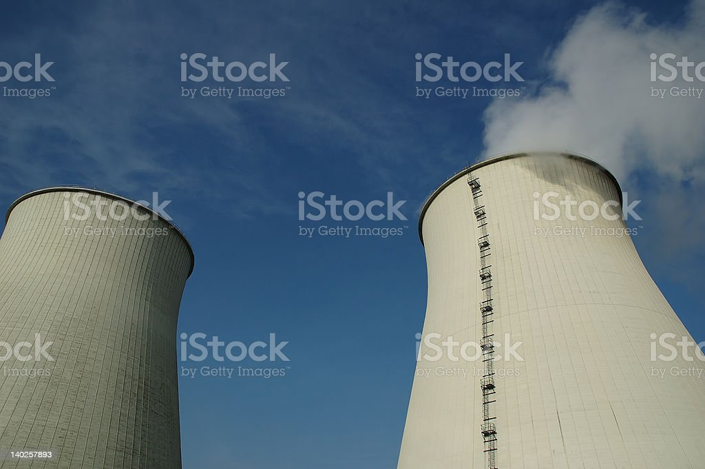 cooling towers of electricity power plant royalty-free stock photo