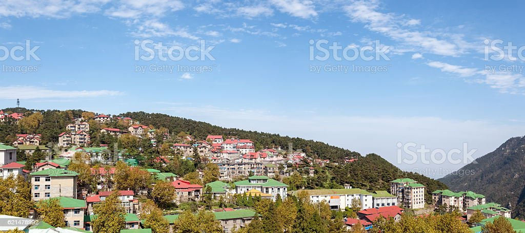 cooling town scenery in lushan stock photo
