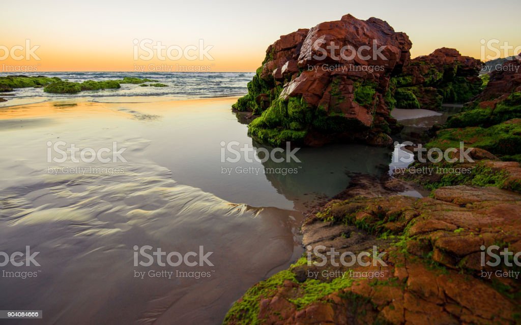 Coolum beach at the Sunshine Coast stock photo