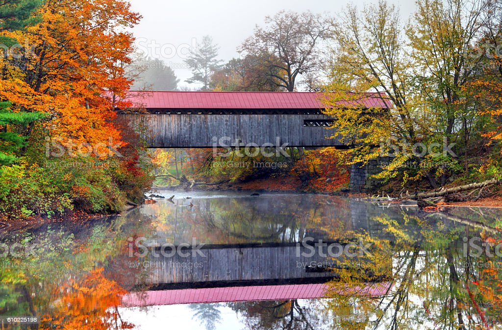 Coombs Covered Bridge over the Ashuelot River in New Hampshire stock photo