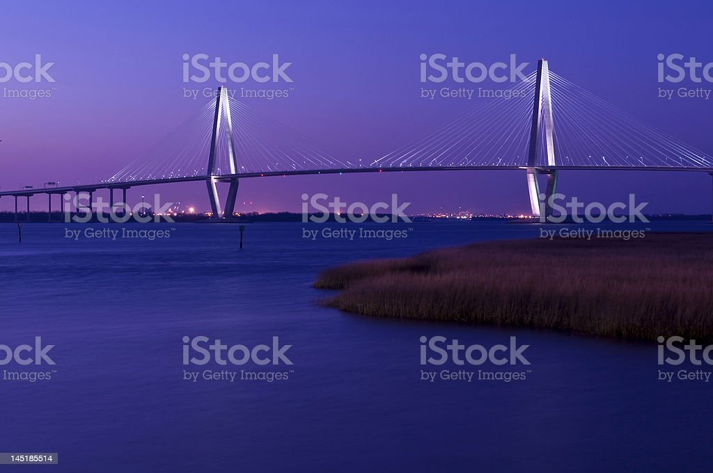 Cooper River Bridge at Night Charleston, SC royalty-free stock photo