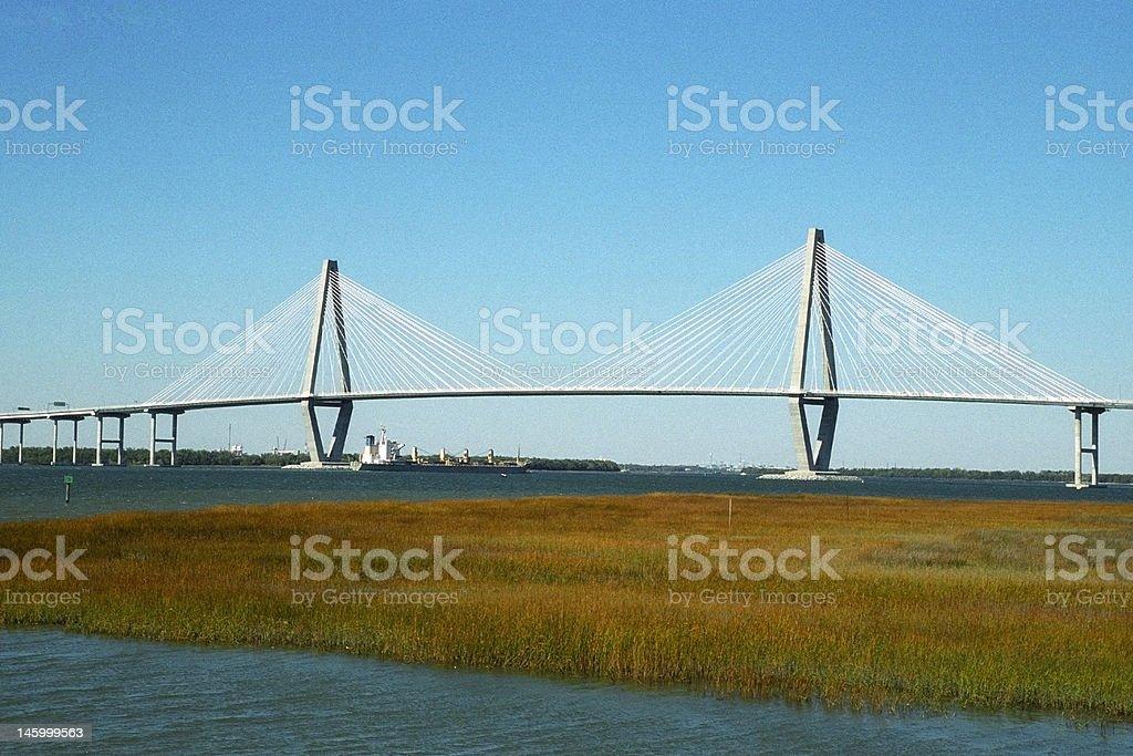 Cooper River Bridge & Cargo stock photo