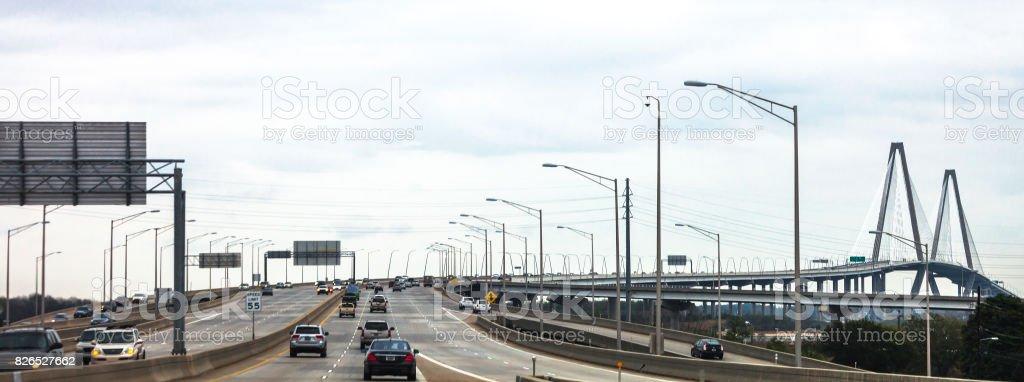 Cooper River Bridge traffic - Charleston, South Carolina stock photo