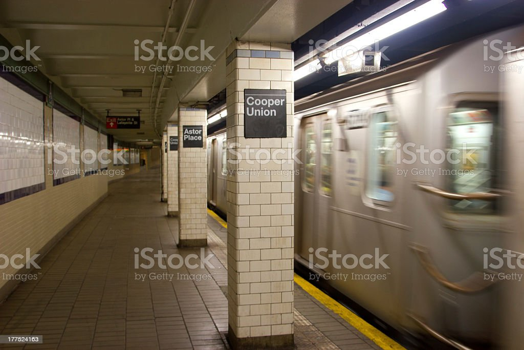 Cooper Union and Astor Place Subway Station, NYC stock photo