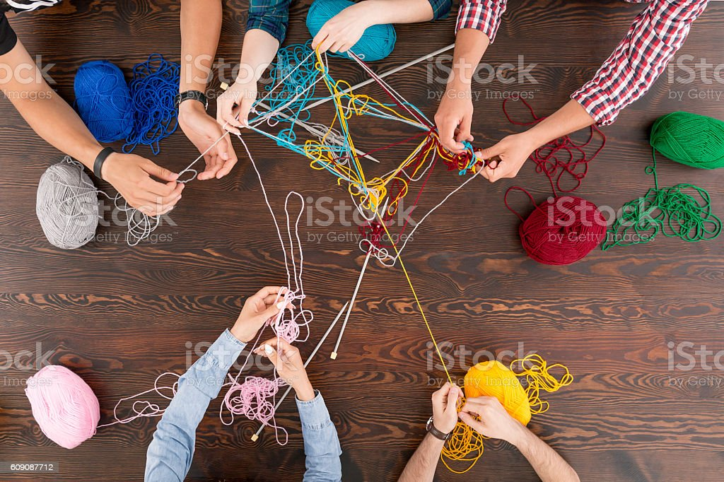 Cooperation in difficult tasks stock photo
