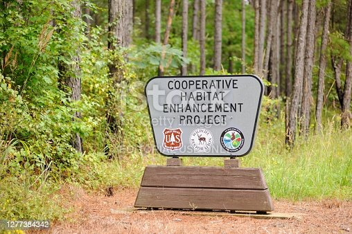 Oxford, Mississippi - September 26 2030: Sign for Cooperative Habitat Enhancement Project in the Holly Springs National forest, located along MS highway 30 near Oxford, Mississippi.