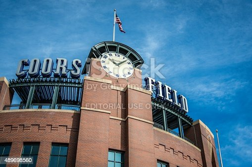 Denver, Colorado, USA - February 16, 2014: Streetside view of Coors Field, home to the MLB Colorado Rockies and named after the brewing company from Golden, Colorado.