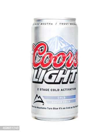 Nashville, Tennessee, USA - August 10th, 2011: A close up image of a Coors Light Beer Can with the signature blue cold activated mountains and red Coors logo photographed against a white background.