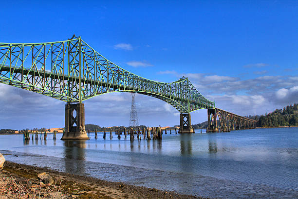 Coos Bay Bridge Beautiful Span across the Coos Bay  on the Central Oregon Coast bay of water stock pictures, royalty-free photos & images